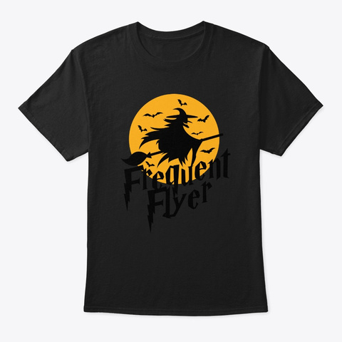 Frequent Flyer Cute Witch Halloween Black T-Shirt Front