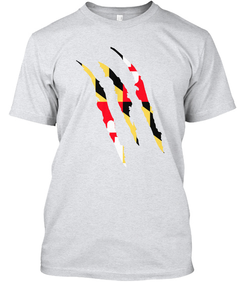 Maryland Claw By Otherside Apparel  Ash T-Shirt Front