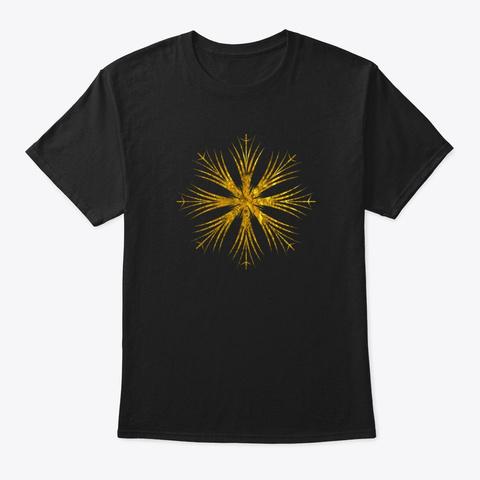 Gold Snowflake Design Black T-Shirt Front