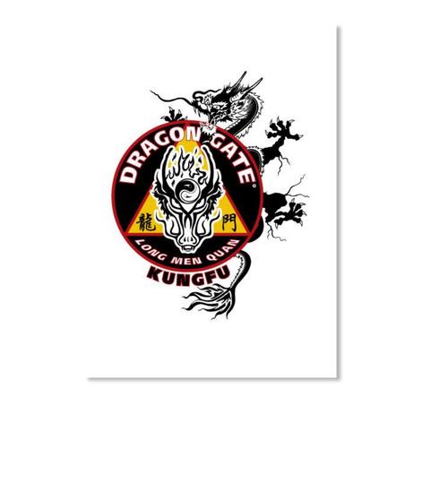 Dragon Gate Kungfu Sticker White T-Shirt Front