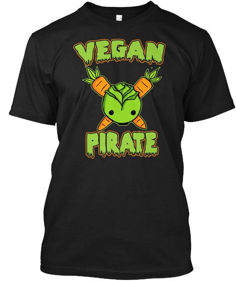 Vegan Pirate Black T-Shirt Front