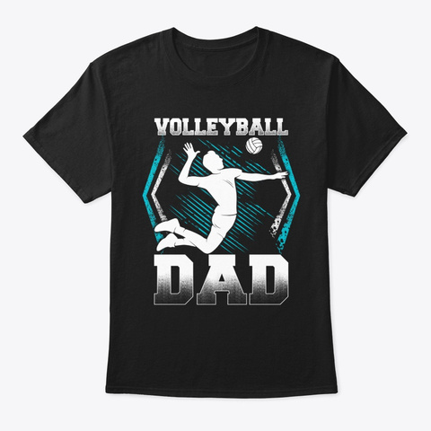 Funny Volleyball Dad T Shirt Black T-Shirt Front