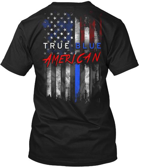 True Blue American Black T-Shirt Back