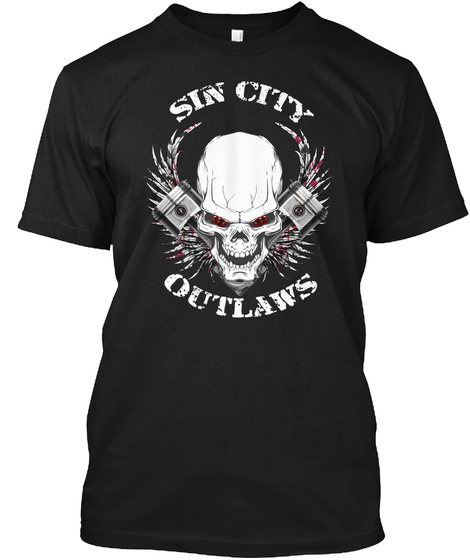 Sin City Outlaws Black T-Shirt Front