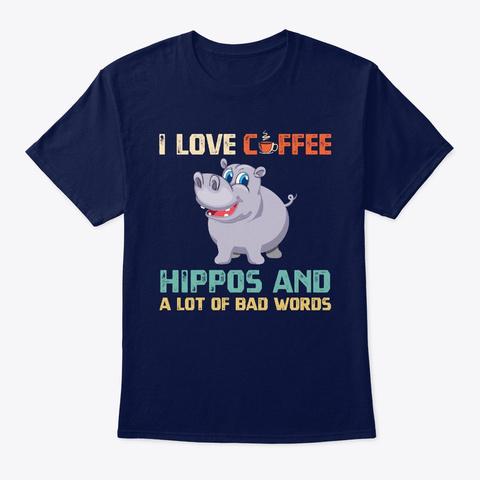 Hippo Coffee Love Hippopotamus T Shirt Navy T-Shirt Front