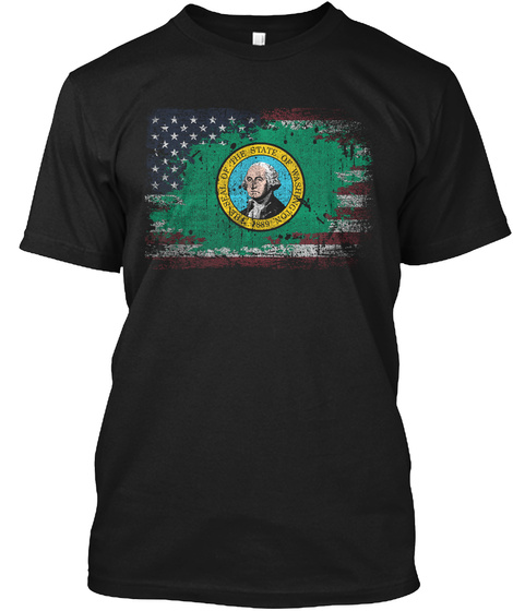 The Seal Of The State Of Washington Black T-Shirt Front