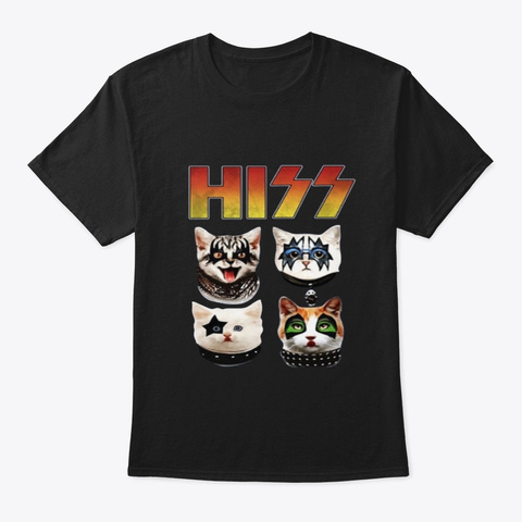Hiss Funny Cats Kittens Rock Rockin Gift Black T-Shirt Front