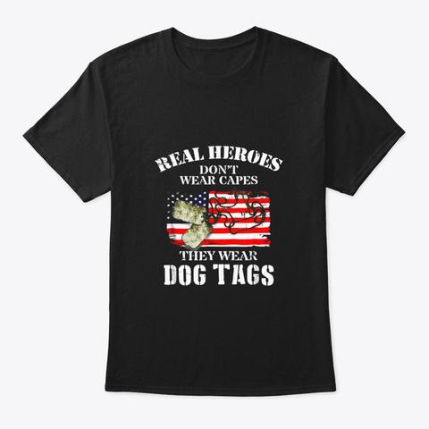American Veteran Flag And Dog Tag Shirts Black T-Shirt Front