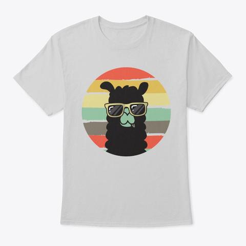 Retro Llama Funny Vintage Alpaca Sunset Light Steel T-Shirt Front