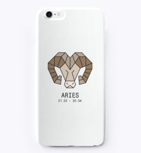Zodiac Collection   Aries White T-Shirt Front