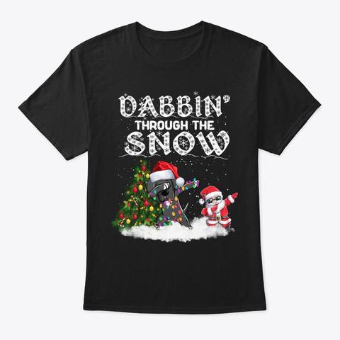 Great Dane Dabbin Through The Snow Black T-Shirt Front