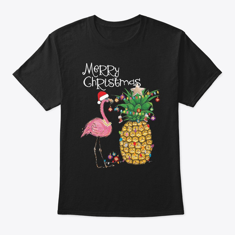 Merry Christmas Pink Flamingo Christmas Black T-Shirt Front
