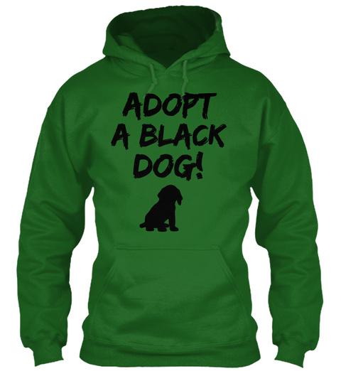 Adopt A Black Dog! Irish Green T-Shirt Front