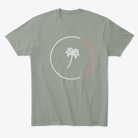 The Dashleys Palm Tree Logo   Red/Grey Grey T-Shirt Front