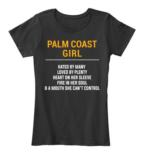 Palm Coast Fl Girl   Heart On Sleeve. Customizable City Black T-Shirt Front