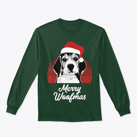 Beagle Christmas Gift For Dog Lover  Forest Green T-Shirt Front