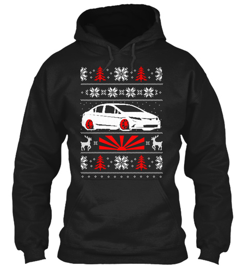 Jdm Ugly  8th Gen Christmas Hoodie Black T-Shirt Front