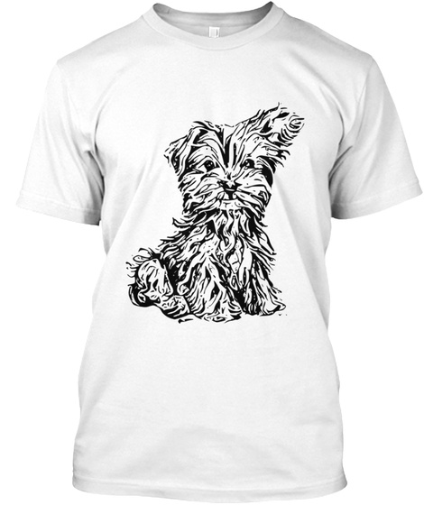 Cute Dog Drawing  White T-Shirt Front