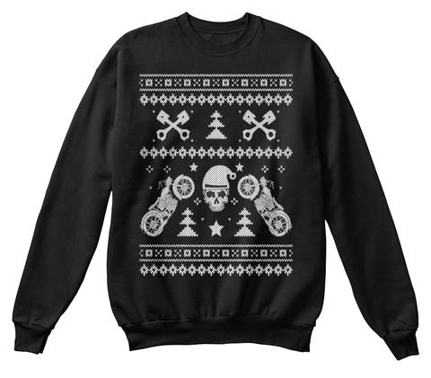 Biker Christmas Sweatshirt Black T-Shirt Front