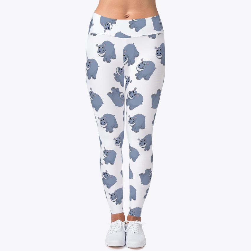 bb9d916bda Funny Hippo Animal Leggings Women's Print Fitness Stretch *Leggings* Yoga  Pants