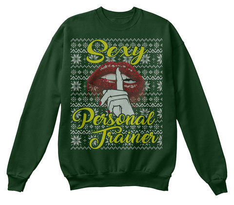 Personal Trainer Ugly Christmas Sweater Deep Forest  T-Shirt Front