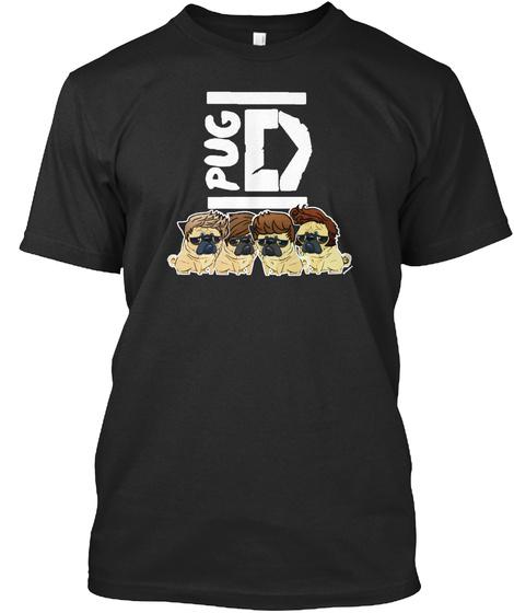 Pug Direction Black T-Shirt Front