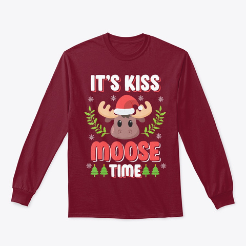It's Kiss Moose Time Play On Words Shirt Cardinal Red T-Shirt Front