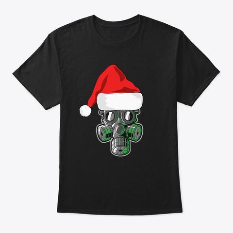 Santa Claus Mask Christmas Ornament  Black T-Shirt Front