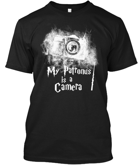 My Patronus Is A Camera Black T-Shirt Front