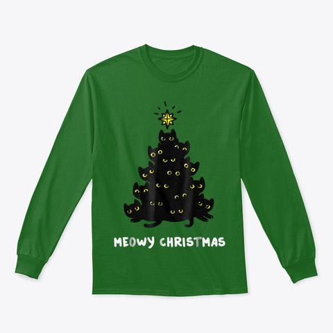 Merry Christmas Meowy Tshirt Funny Meowy Irish Green T-Shirt Front