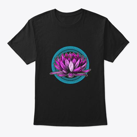 Yoga Namaste Blume Blumen Black T-Shirt Front