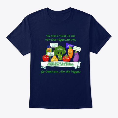 Omnivore For The Veggies Navy T-Shirt Front