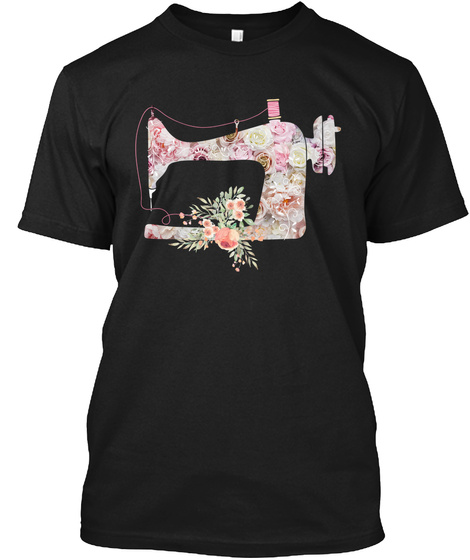 Sewing Machine I Love Quilting T Shirt Black T-Shirt Front