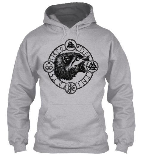 Viking Wolf Symbol   Norseman Hoodie Sport Grey T-Shirt Front