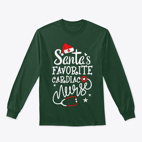 Santa's Favorite Cardiac Nurse Shirt Fun Forest Green T-Shirt Front
