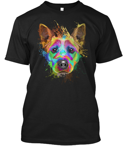 Cattle Dog Art Shirts Black T-Shirt Front