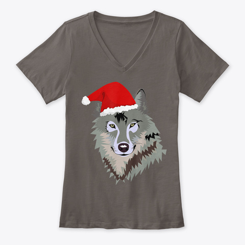 Funny Grey Wolf Christmas T Shirt Santa Asphalt T-Shirt Front