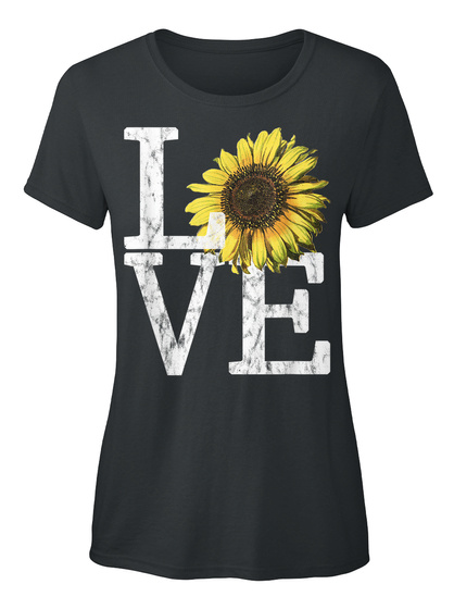 Sunflower Love Shirt Vintage Hippie Black T-Shirt Front