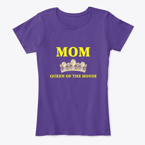 Mom   Queen Of The House (In English) Purple T-Shirt Front