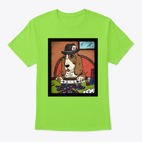 Dog Playing Poker Basset Hound Lime T-Shirt Front