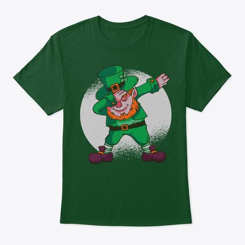 Cool Saint Patrick Dabbing Leprechaun Deep Forest T-Shirt Front