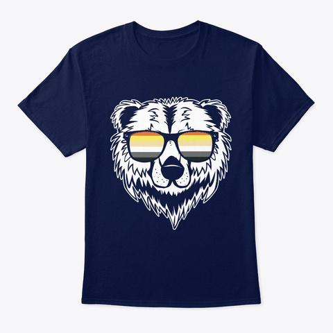 Gay Bear Wearing Sunglasses Lgbtq Navy T-Shirt Front
