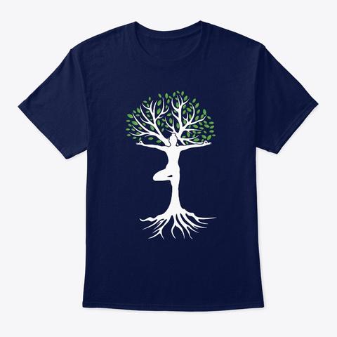 Zen Tree Pose Yoga Navy T-Shirt Front