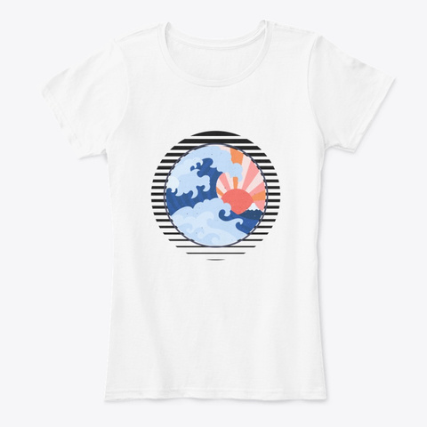 The Great Wave Of Kanagawa White T-Shirt Front