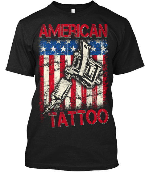 American Tattoo Black T-Shirt Front