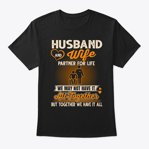 Caregiver Couple Tee Partners For Life Black T-Shirt Front