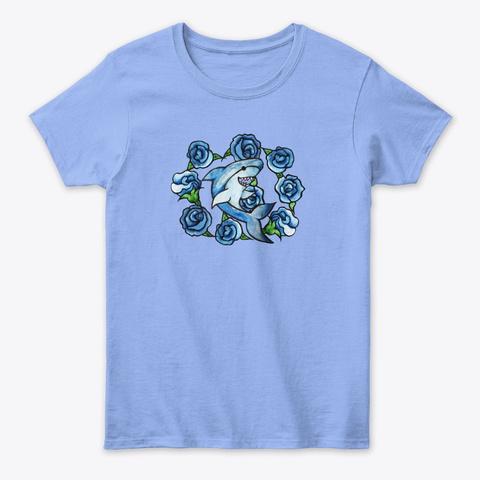 Shark Lover Floral Shark Art Light Blue T-Shirt Front