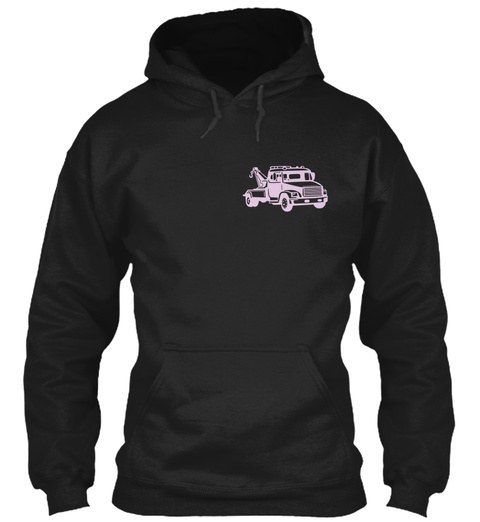 Cute Tow Truck Operator's Lady Black T-Shirt Front