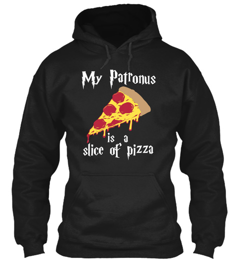 My Patronus Is A Slice Of Pizza Black T-Shirt Front