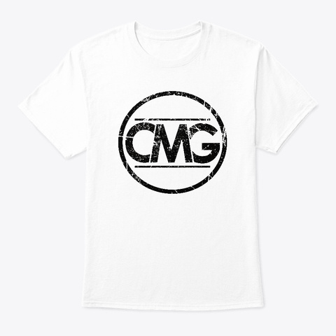 Cmg Distressed Tee/Hoodie (Black Print) White T-Shirt Front